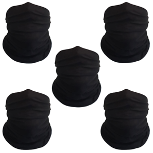 Pack-of-5-Black-Bandanas-Headband-Face-Mask-Shield-Scarf-Neck-Gaiter-Balaclava