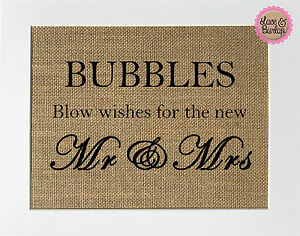 Bubbles-Blow-Wishes-For-The-New-Mr-Mrs-Burlap-Print-Sign-UNFRAMED-Rustic