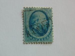 80-PAYS-BAS-Royaume-1864-Guillaume-III-n-4-5c-bleu-oblitere-France-en-noir