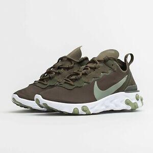 Da-Donna-Nike-reagire-elemento-55-UK-3-5-US-6-EUR-36-5-Cachi-Verde-Bianco
