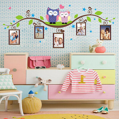 Family Owls Tree Photo Frame Removable Wall Sticker Mural Kids Nursery Home Art