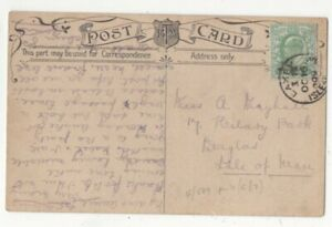 Laxey-Isle-Of-Man-16-Oct-1909-Single-Ring-Postmark-Postcard-153c