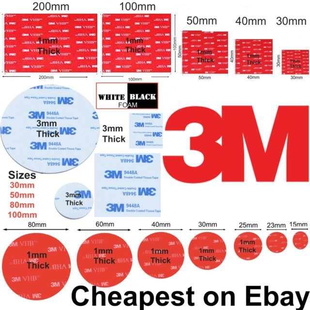 NUMBER PLATE STICKERS SUPER STICKY DOUBLE SIDED ADHESIVE fixing roll 12x1MMx2.5M