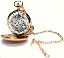 Jean Pierre Twin-Lid Skeleton Pocket Watch Rose GP with Free Engraving (g250rpm)