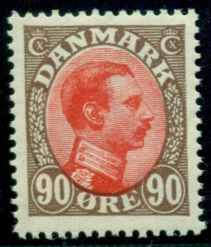 DENMARK #127 (160) 90ore Chr. X, og, NH, VF, Scott $54.00