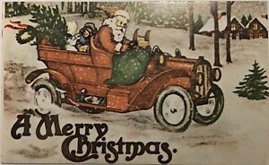 Vintage-Santa-Clause-With-Little-Girl-In-Sleigh-Car-Christmas-Postcard-P1