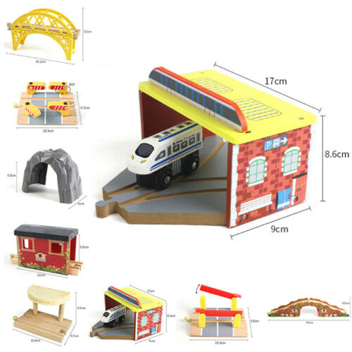 Kinder Holz Trains Spielzeug Eisenbahn Brücke Tunnel Petroleum Spiel Requisiten