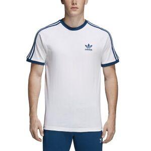 Dettagli su Adidas T-SHIRT UOMO 3 STRIPES TREFOIL DY1532 Bianco/Blu mod.  DY1532