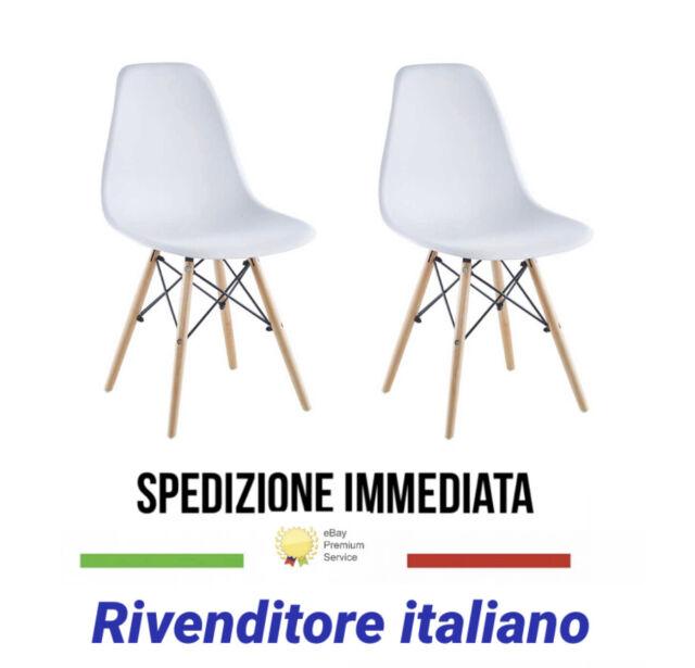 Set 2 sedie bianca design in legno e resina sedia da cucina soggiorno ufficio