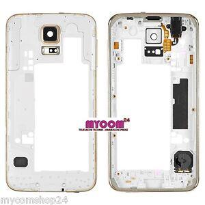 Original-Samsung-Galaxy-S5-G900F-Mittelrahmen-GOLD-USB-Abdeckung-Buzzer-TOP