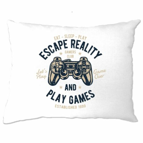 Retro Gamer Art Pillow Case Escape Reality And Play Games Console PC Nerd Geek