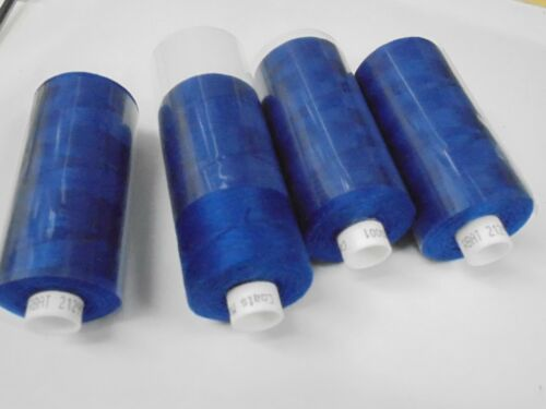 4 REELS ROYAL BLUE 1000 yds SEWING MACHINE OVERLOCK THREAD FREE DELIVERY