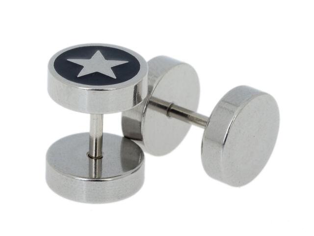 Round Stainless Steel Crystal Unisex Ear Plug Stud Earring Fake Cheater Punk 6L