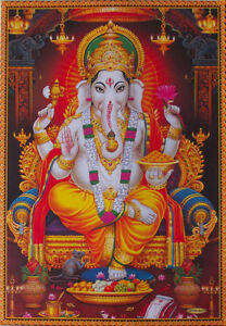lord ganesha shri ganesh poster big size 20x30 inch ebay. Black Bedroom Furniture Sets. Home Design Ideas