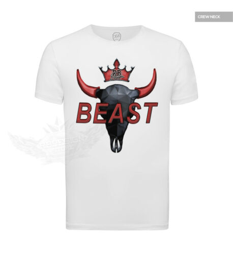 Deep V-neck BEAST Muscle T-shirt Bison Skull Urban Fashion Red Graphic Tees 730
