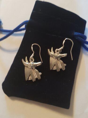 Anubis Earrings 925 St Silver earwires in Blue Velvet Pouch