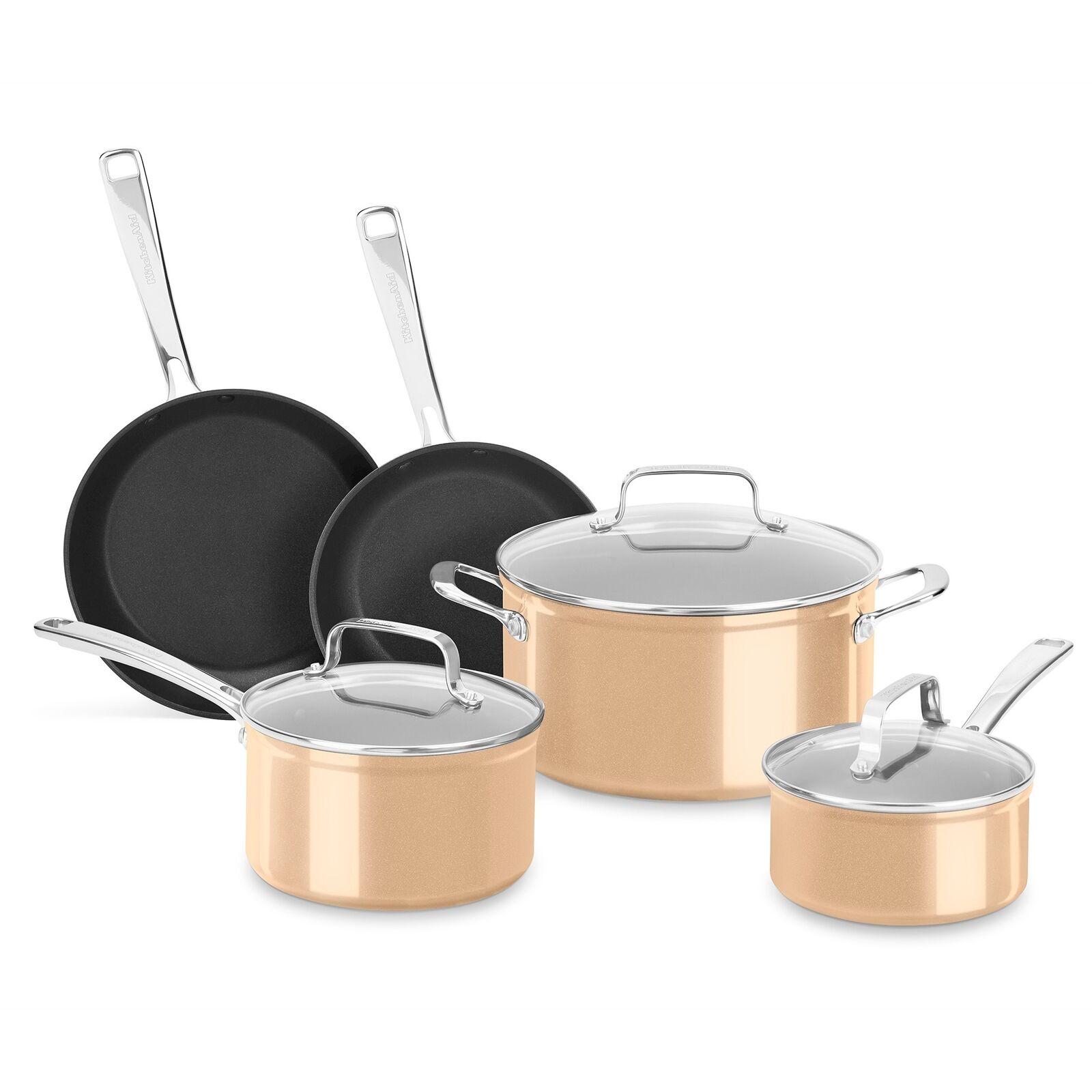 New KitchenAid 8 Piece Anodisé Dur Anti Cookware Set-KC3H1S08