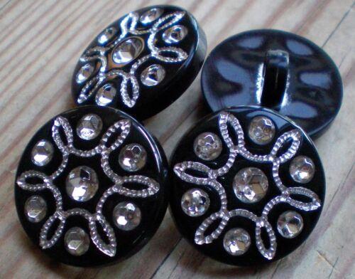 W448-W449 20mm 15mm Black /& Silver Crystal Flower Jacket Craft Shank Button