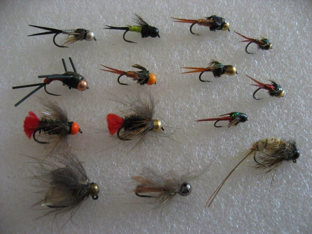 !OFERTA! 14 ninfas surtidas, anzuelo sin muerte. Pesca a FLY mosca. FLY a FISHING (25) 887ddc