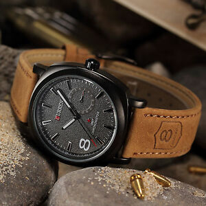 CURREN-Mens-Military-Brown-Leather-Quartz-Stainless-Steel-Sport-Army-Wrist-Watch