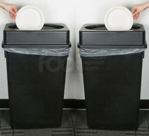 Details about 2 PACK 23 Gallon Heavy Duty Black Plastic Slim Kitchen Trash  Can Swing Lid