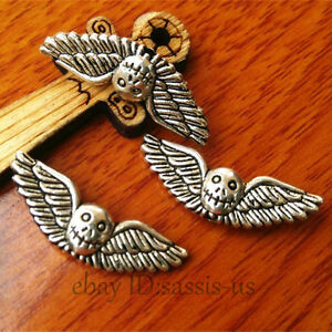 30pcs-25mm-Charms-Skull-Wing-Spacer-Beads-Pendant-Tibet-Silver-DIY-Jewelry-A7404