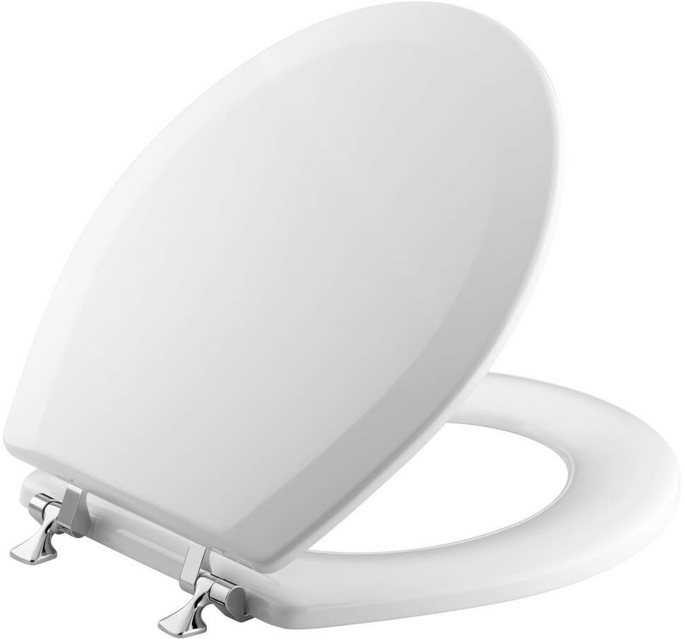 Toilet Seat Round Round Round Closed Front with Cover and Polished Chrome Hinge in Weiß 8ffe43