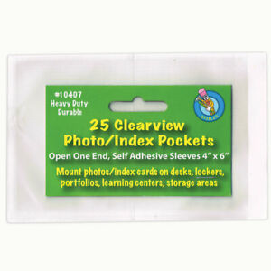 CLEAR-VIEW-SELF-ADHESIVE-25-PK-POCKETS-PHOTO-INDEX-CARD-4-X-6