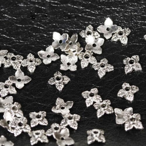 50 stück antik Silber 4 Blattse Perle Beads Silber Schön