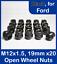 20-X-abra-acero-rueda-tuercas-de-aleacion-para-Ford-M12-X-1-5-19mm-Hex miniatura 1
