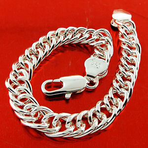 Bracelet-Bangle-Genuine-Real-925-Sterling-Silver-Sf-Men-039-s-Heavy-Double-Curb-Link