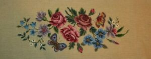 Floral-Bouquet-Rose-Butterfly-Needlepoint-Completed-Finished-Wool-Bench-Seat-Tan