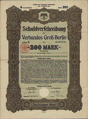 Verband Groß Berlin Schuldverschreibung 200 Mark 1919 unentwertet