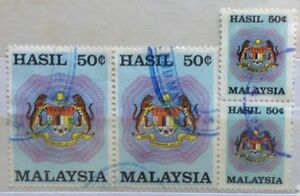 Malaysia Used Revenue Stamps - 4 pcs 50 cents Stamp (2 Big & 2 Small Size)
