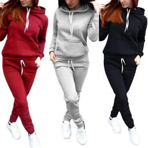 526fc0147 Image is loading 2Pcs-Tracksuit-Women-Hoodies-Sports-Tops-Pants-Sweatshirt-
