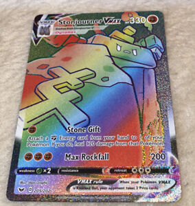 Pokemon Stonjourner VMAX 205/202 Sword & Shield Full Art Rainbow Pristine Gem