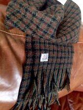 Harris Tweed Vintage Rare New Pure Wool Tweed scarf Red Green Teal Black Brick