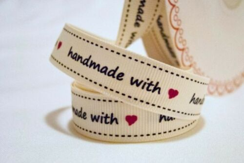 Bertie/'s Bows Hand Made with Love /<3 16mm Crafting Grosgrain Ivory Ribbon L1
