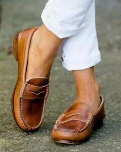 Retro-Womens-PU-Leather-Flats-Round-Toe-Oxfords-Moccasin-Driving-Loafers-Shoes