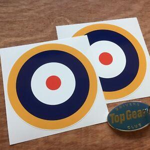 RAF-Roundel-WW2-Car-Motorcycle-Model-Aeroplane-Stickers-Decals-100mm-2-off