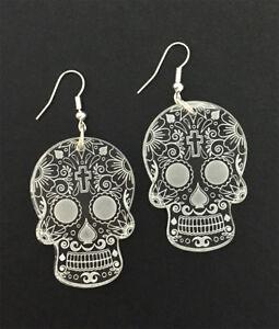 Sugar-Skull-Earrings-Laser-Engraved-Clear-Acrylic-Laser-Cut-Skull-Gift-Ideas