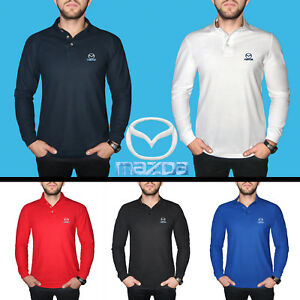 Homme-Mazda-a-Manches-Longues-Polo-Chemise-Coton-brode-Auto-Logo-Tee-Casual