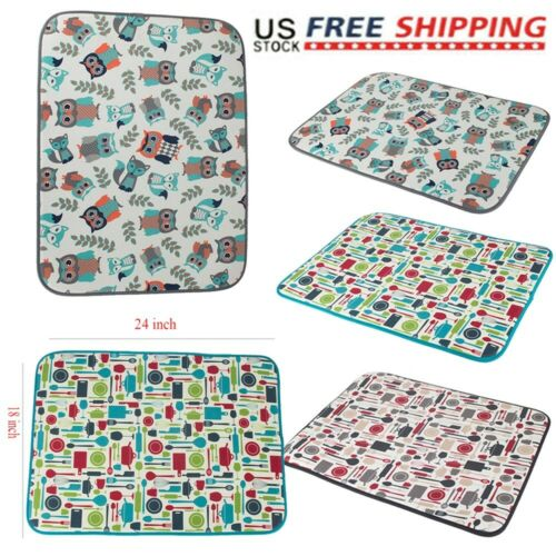 Microfiber Dish Drying Mat 18/'/'x24/'/' Tea Towel For Kitchen Double-sided Design