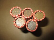 5 MIXED WHEAT INDIAN HEAD PENNY SHOTGUN ROLLS WITH INDIAN CENT END!  COIN LOT H3