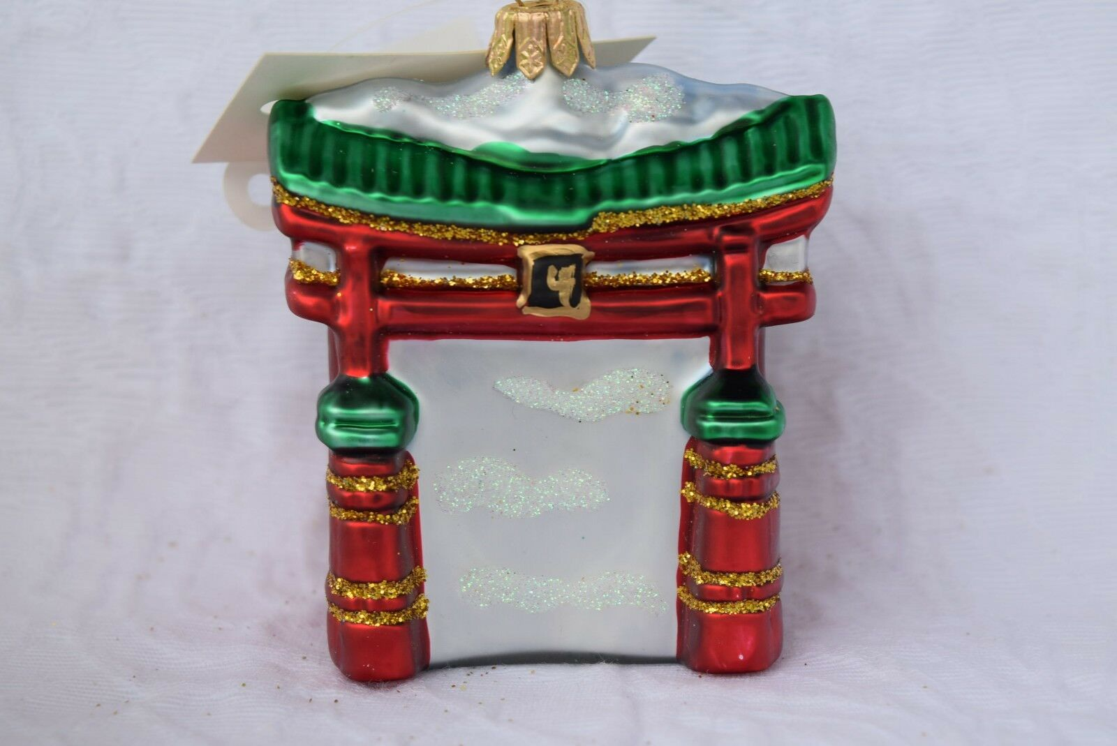Torii Gate Glass Ornament Holiday Decoration 0738 Mouth Blown & Hand Painted