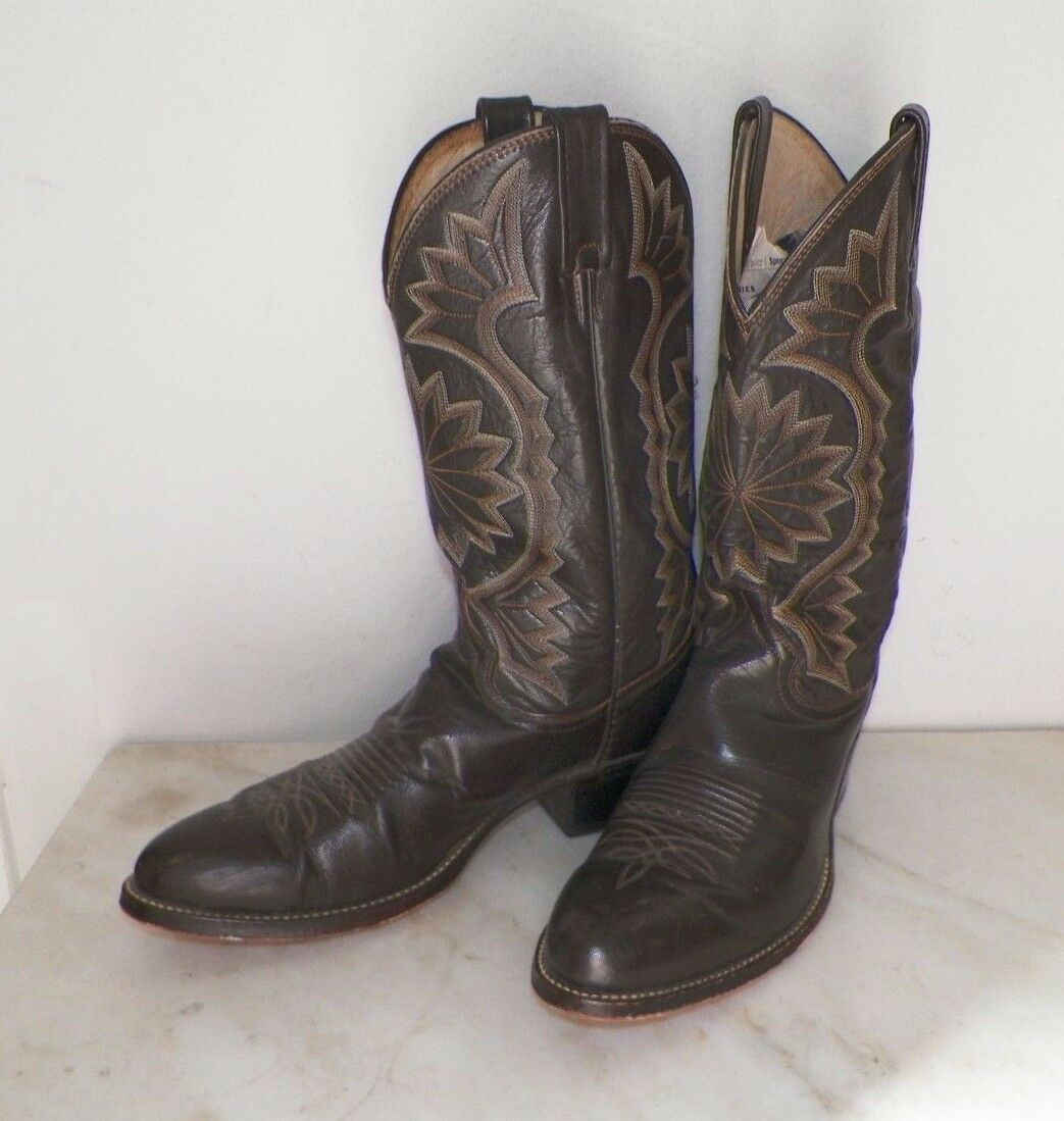 MEN'S DAN POST BROWN LEATHER WESTERN COWBOY BOOTS SIZE 11 D GOOD USED
