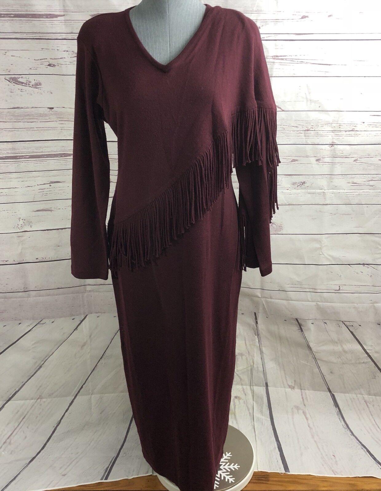 Maggie London Vtg Sweater Long Sleeve Maxi Dress Cotton Bohemian 80's Fringe