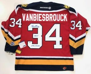 online store a277b ceb60 Details about JOHN VANBIESBROUCK SIGNED FLORIDA PANTHERS 1996 CUP KOHO RED  JERSEY INSC PSA COA