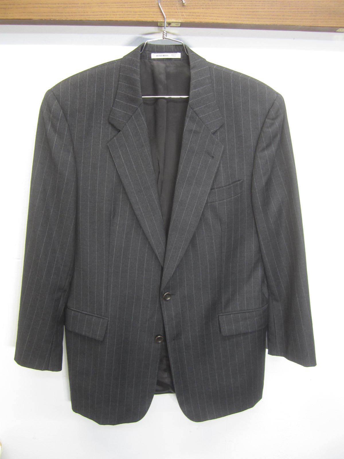 Vtg Hugo Boss Blazer Sport Coat charcoal pinstripe wool 2 btn sz 42L made in USA