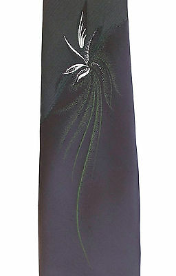 Vintage Tootal tie with leaf design Brown Green polyester 1960s mens wear